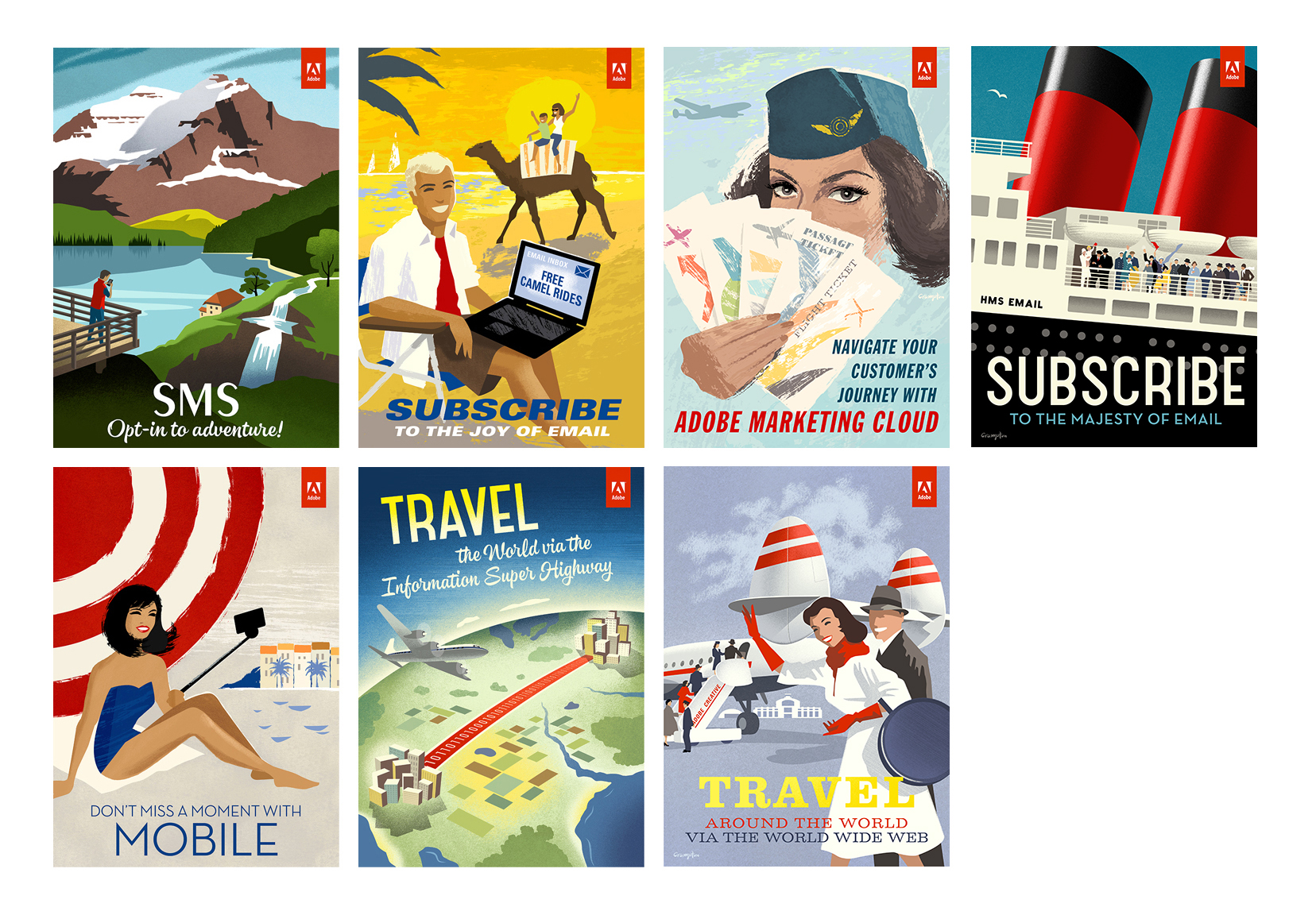 Adobe cards illustrations by Michael Crampton