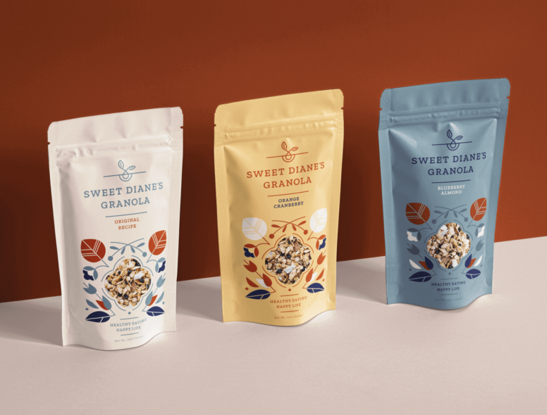 Darling Clementine packaging design for Sweet Diane's Granola